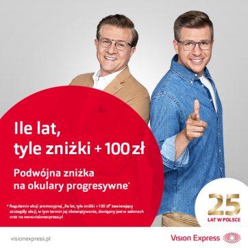 """""""Ile lat, tyle zniżki + 100 zł"""" – kultowa promocja ponownie w salonach Vision Express!"""