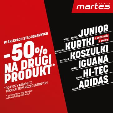 W sklepach stacjonarnych -50% na drugi produkt